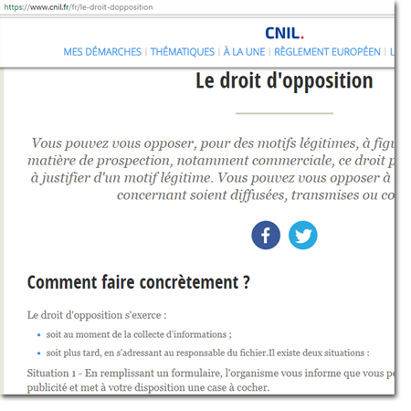 Cnil droit opposition