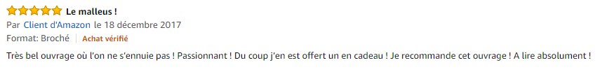 Commentaires client Amazon